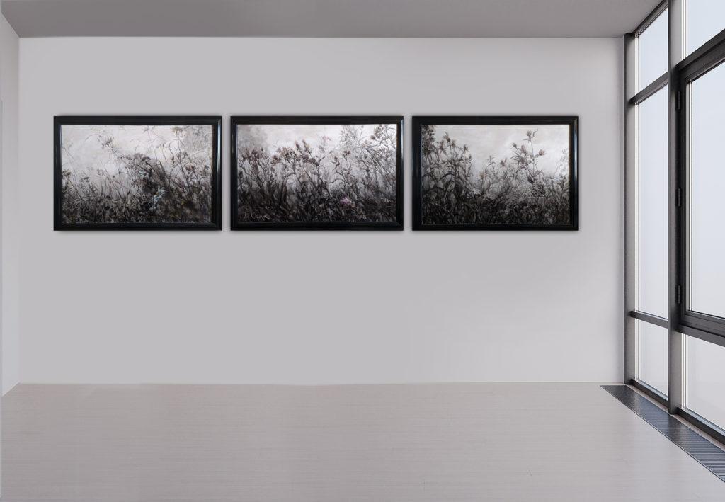 Bergige Gräser, Triptychon, Leinen, Aquarell, Pigment, Lack, 70x50, 80x50, 70x50 cm