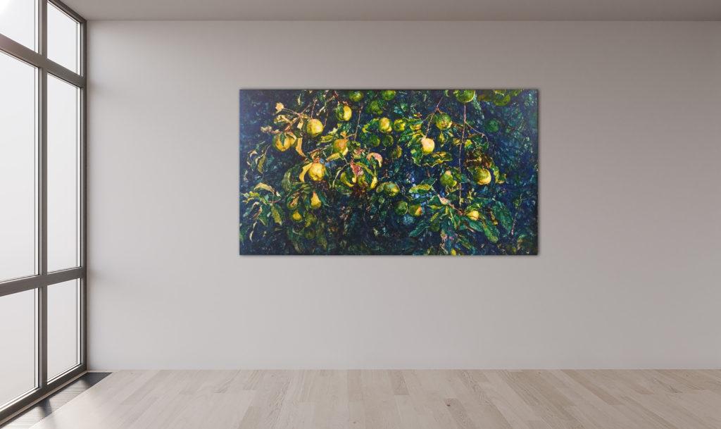 Chaostheorie, Leinen, Aquarell, Pigment, Lack, 130x70 cm