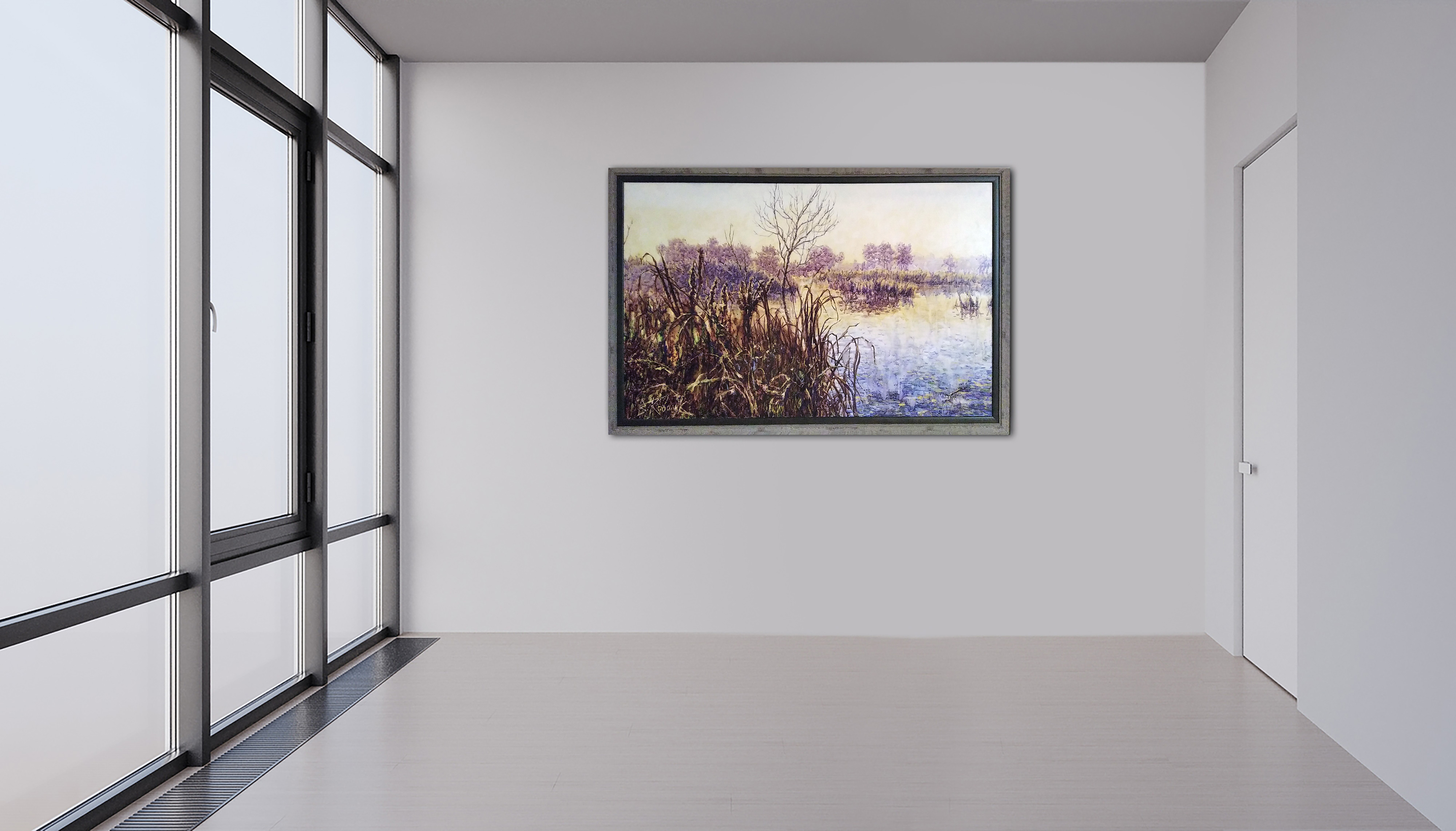 Herbstliche Motive, Leinen, Aquarell, Öl, Pigment, Lack, 126x80 cm