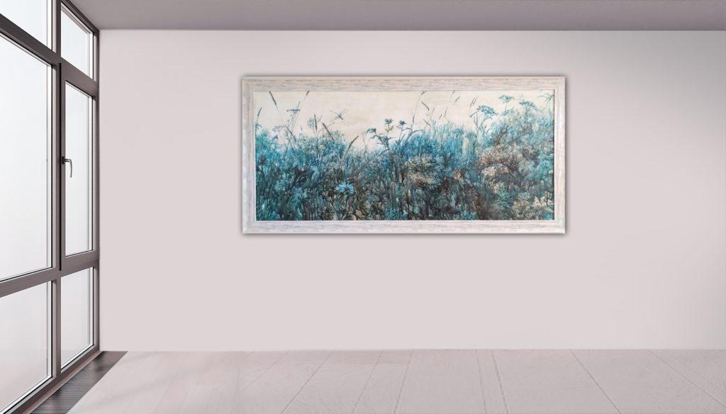 Libellen, Leinen, Aquarell, Pigment, Lack, 160x70 cm