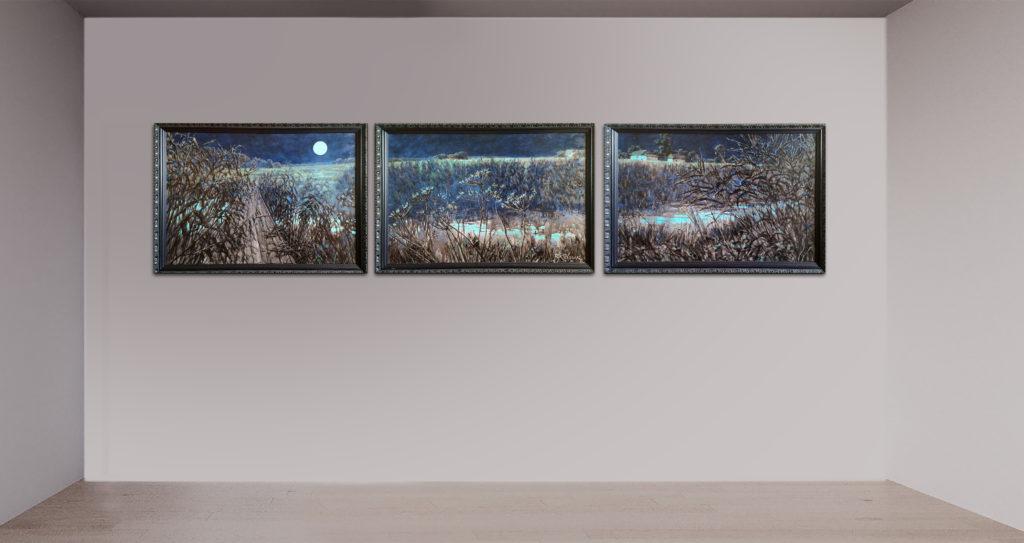 Mondnacht, Triptychon, Leinen, Aquarell, Pigment, Öl, Lack, 80x50, 85x55, 80x50 cm