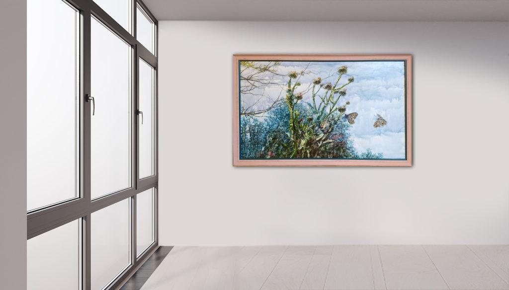 Schmetterlinge, Leinen, Aquarell, Pigment, Lack, 124x75 cm
