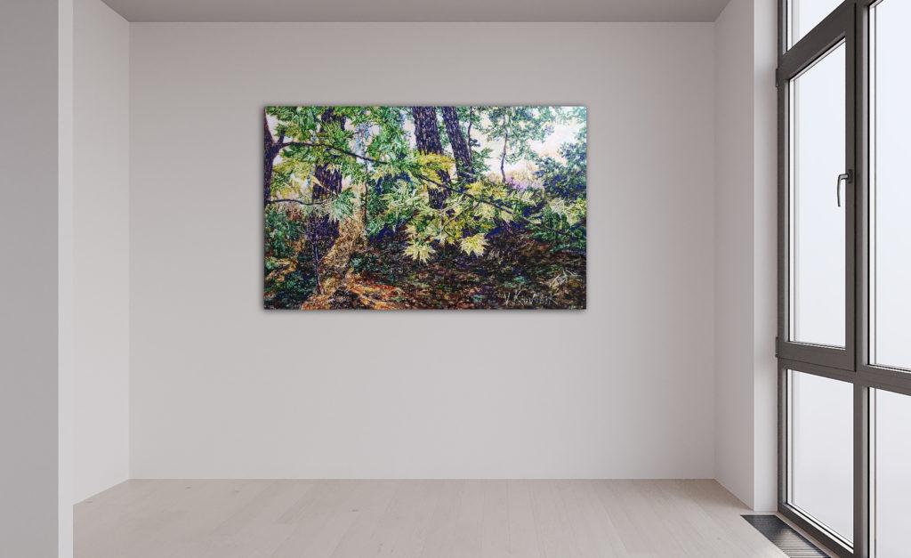 Sommerfrische, Leinen, Aquarell, Pigment, Lack, 60x95cm