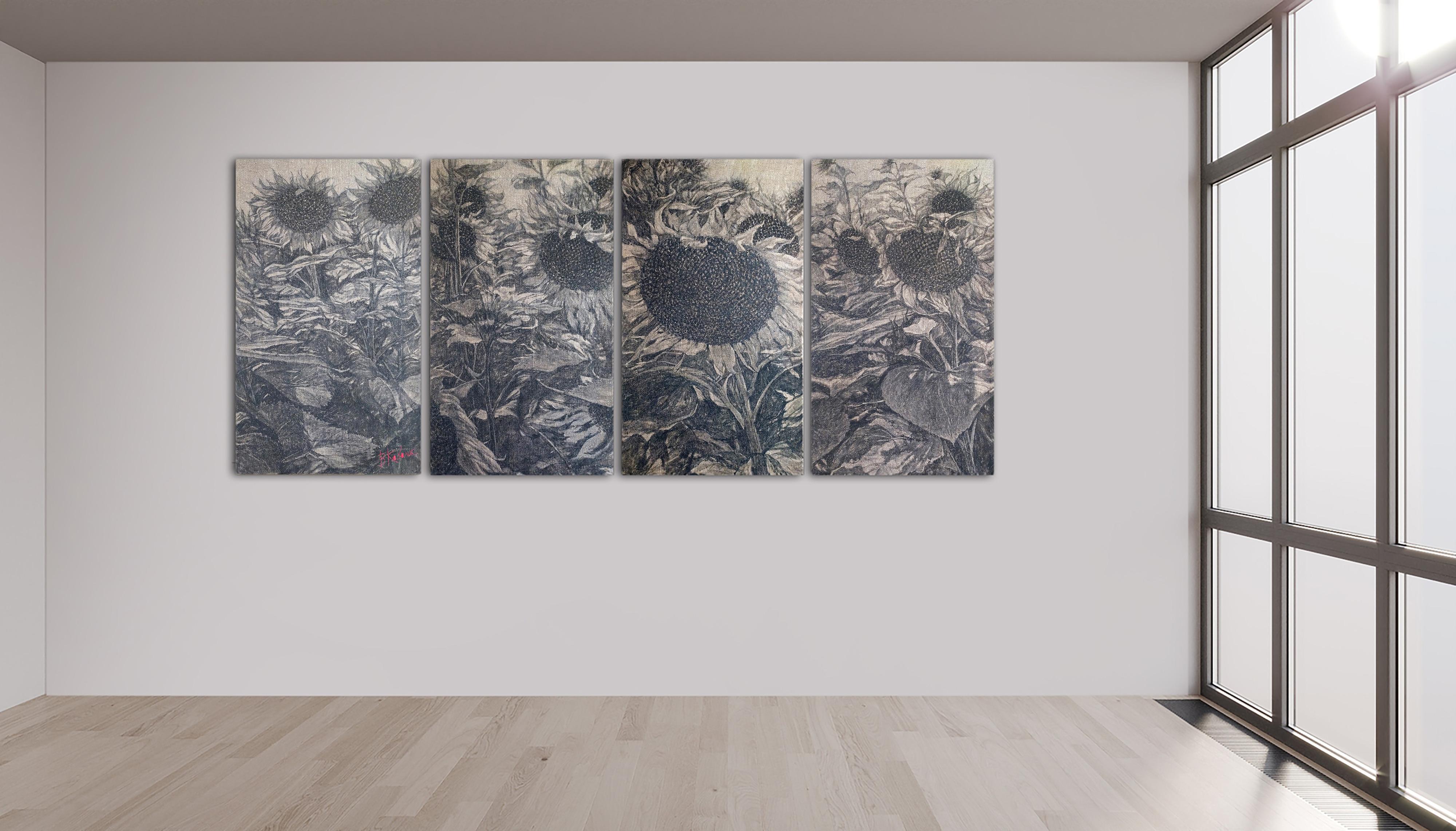 Sonnenblumen, Vierteilig, Leinen, Aquarell, Pigment,4x55x95 cm