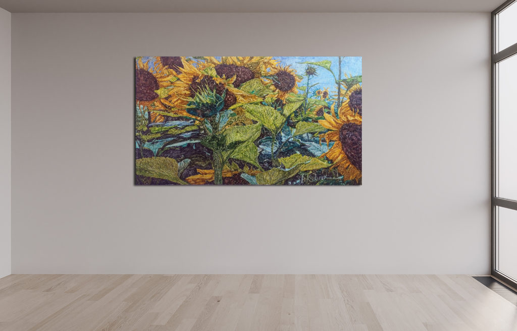 Van Gogh-Nostalgie, Leinen, Aquarell, Pigment, Lack, 120x70cm