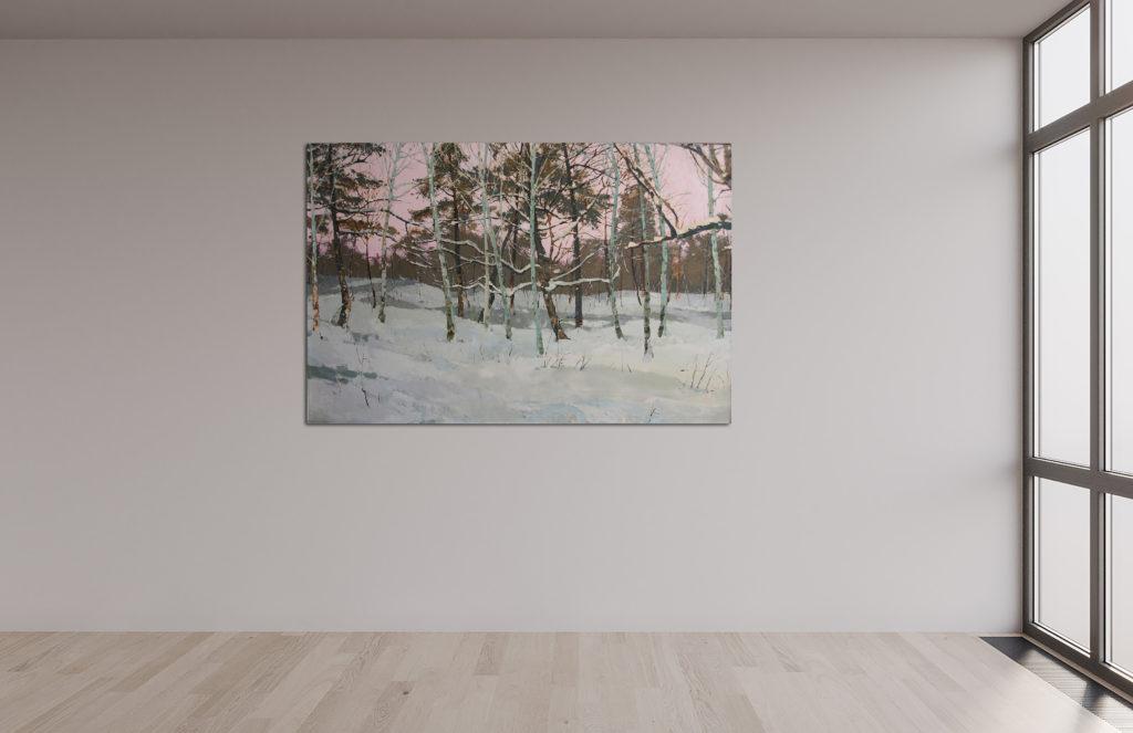 Winterabend, Leinen, Öl, 60x90cm